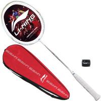 李宁 LI-NING 初中级进阶全碳素羽毛球拍单拍 HC1100 白金(已穿线)