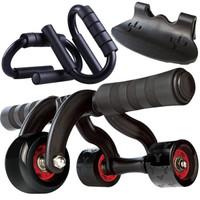 凯速KANSOON家用静音轴承三轮健腹轮健腹器腹肌轮(含地垫、刹车片)俯卧撑支架两件套黑色