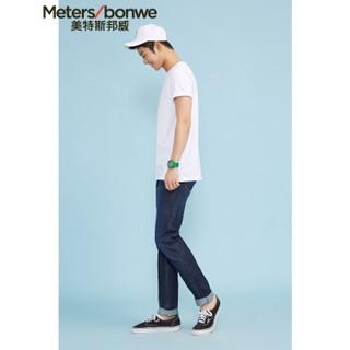 Meters bonwe 美特斯邦威 226250 男士净色圆领T恤 漂白 160/84