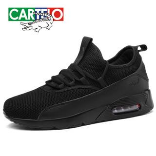 CARTELO 卡帝乐鳄鱼 KDL8B8003 男士跑步运动板鞋 黑色 40