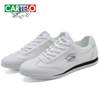 CARTELO 卡帝乐鳄鱼 KDLK20 男士网面运动鞋 白色 39