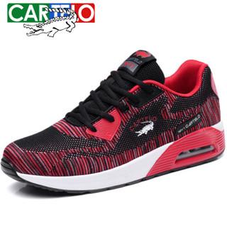 CARTELO 卡帝乐鳄鱼 CQ8298 男士气垫跑步鞋 黑红 42