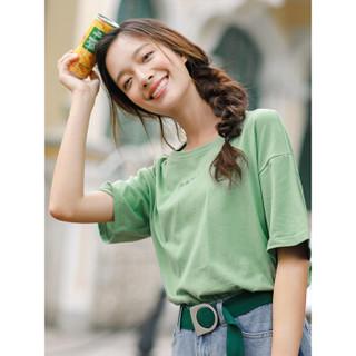 INMAN 茵曼 F1882022967 女士短袖T恤 草绿色 M