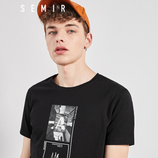 Semir 森马 19038001213 男士短袖T恤 黑色 S