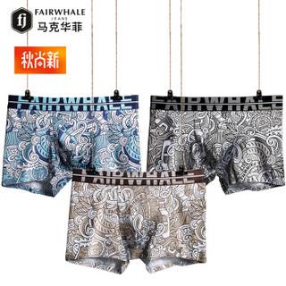 MARK FAIRWHALE 马克华菲 8048 男士平角裤 (3条装、L、时尚潮流)