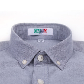 CARTELO KNJFDX 男士牛津纺短袖衬衫 灰色 41
