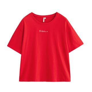 INMAN 茵曼 F1882022967 女士短袖T恤 红色 S