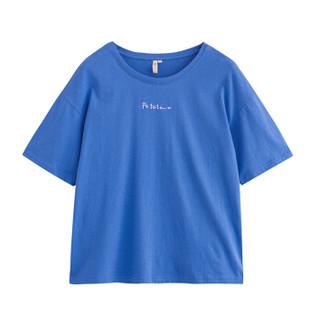 INMAN 茵曼 F1882022967 女士短袖T恤 深蓝色 L