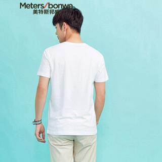Meters bonwe 美特斯邦威 601841 男士趣味图案短袖T恤 亮白 185/104
