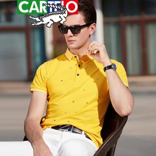 CARTELO 9095 男士短袖翻领POLO衫 黄色 XL