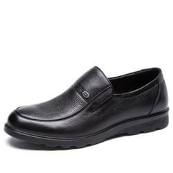 奥康(Aokang)头层牛皮套脚圆头舒适耐磨商务休闲皮鞋165011285黑色41码 *2件