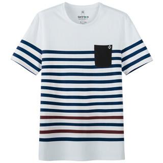Semir 森马 19216001803 男士条纹短袖T恤 蓝白色调 XL