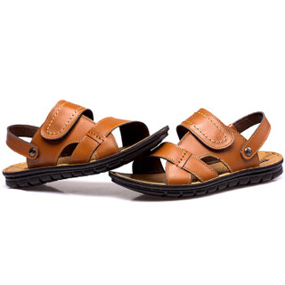 CARTELO 卡帝乐鳄鱼 L002 男士休闲凉鞋 黄色 42