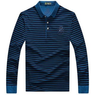 ZHAN DI JI PU Z8825 男士条纹长袖T恤 宝蓝 L