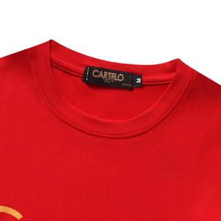 CARTELO 16057KE9537 男士印花圆领长袖T恤 大红 3XL