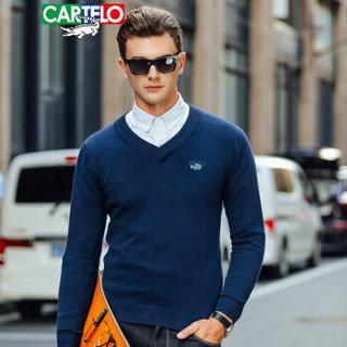 CARTELO 16018KE12291 男士修身V领套头针织衫 宝兰 2XL