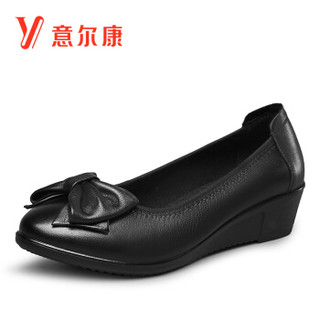 YEARCON 意尔康 8282ZA29818W 女士坡跟皮鞋妈妈鞋 黑色 37