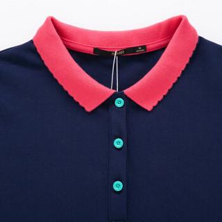 Semir 森马 19037000601 女士短袖Polo衫 深蓝 L