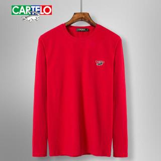 CARTELO 16057KE9518 男士纯色圆领长袖T恤 大红 L