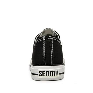 Semir 森马 2122187 女士休闲帆布鞋 黑色 37