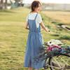 INMAN 茵曼 1882105062 女士短袖T恤背带牛仔裙两件套