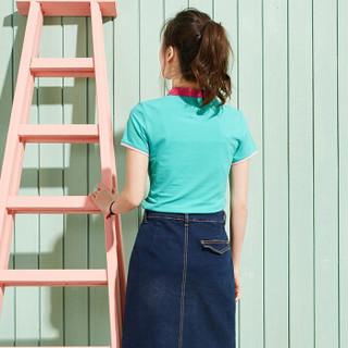 Semir 森马 19037000601 女士短袖Polo衫 粉绿 M