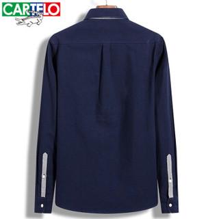 CARTELO 17054KE1803 男士休闲翻领长袖衬衫 深蓝色 XL
