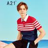 A21 以纯男装修身百搭条纹拼接POLO衫男 *8件 244.4元(合30.55元/件)