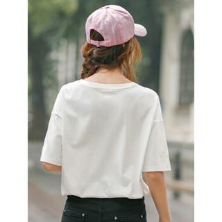 INMAN 茵曼 F1882022967 女士短袖T恤 米白色 XL