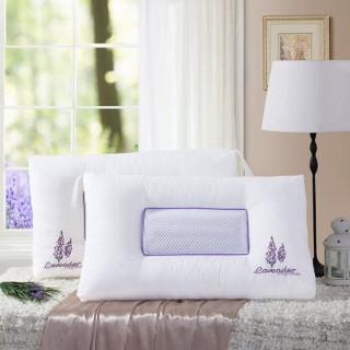 水星家纺  舒眠绣花薰衣草对枕 双人成人枕芯两只床上用品 48cm×74cm