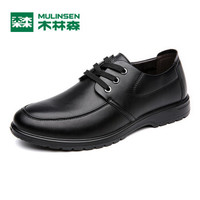 MULINSEN 木林森 SL67341 男士商务休闲皮鞋 黑色 41