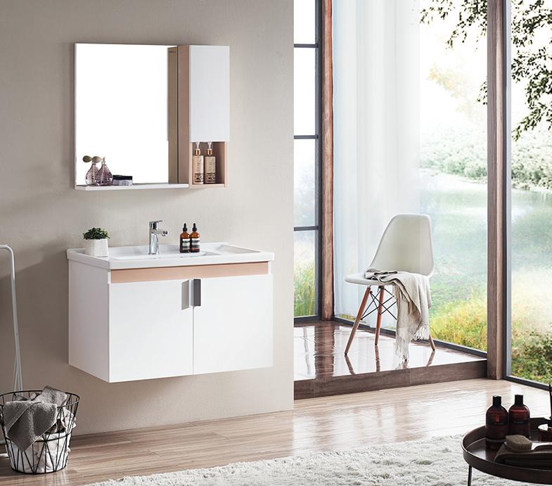 HEGII 恒洁 卫浴 6019N 现代简约浴室柜组合 80cm带侧柜 (不含龙头及配件)