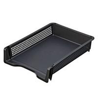 日本进口inomata 办公桌面A4纸文件收纳筐创意塑料文件篮可叠加多层收纳盒 黑色