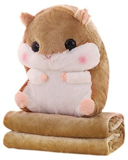 FERSOAR F 烽索 MY-107 仓鼠卡通抱枕+两用型空调毯(珊瑚绒) 浅棕色