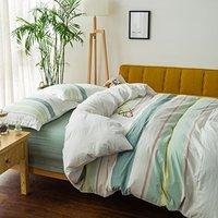 Candy&Sarah 贝好莱 纯棉色织缎彩四件套 床笠款 缎彩绿条 1.8米床