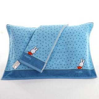 金号毛巾家纺 纯棉卡通枕巾 柔软透气单人枕头巾 一对2条装 蓝色 50*80cm