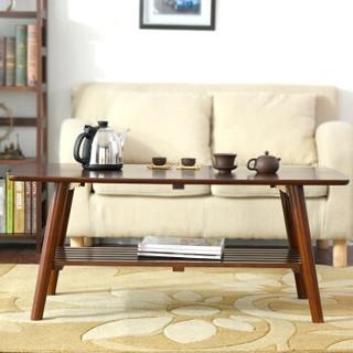 家逸可折叠双层茶几实木简约茶桌边几客厅简约茶几桌长方形棕色