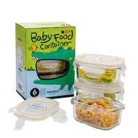 Glasslockbaby婴儿玻璃辅食盒 新生儿宝宝辅食碗冷冻保鲜盒零食盒 儿童餐具套装 长方形150ml*3