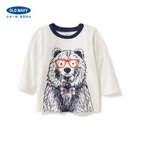 OLD NAVY 827649 男童卡通小熊印花长袖T恤 (老海军 )