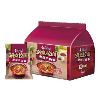 康师傅方便面锅煮拉面麻辣火锅煮面袋面泡面五连包休闲零食 *4件
