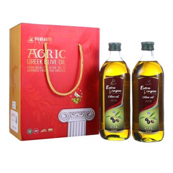 阿格利司(AGRIC)希腊原装进口特级初榨橄榄油1L*2瓶经典礼盒(新老包装随机发放)
