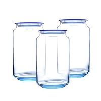 Luminarc 乐美雅 玻璃储物罐 蓝色 1L*3个