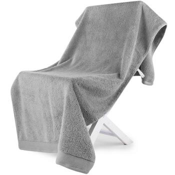 SANLI 三利 长绒棉缎边浴巾 银灰色 70*150cm