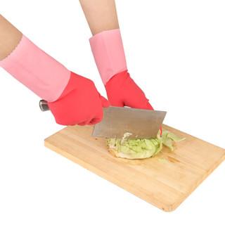 妙洁 清洁家务 橡胶手套三重加厚喷绒小号 耐久型  防水防滑 洗碗手套