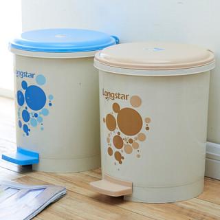 龙士达 LONGSTAR 踩踏式塑料垃圾桶 加厚双层内胆静音垃圾桶有盖 LA-07米色
