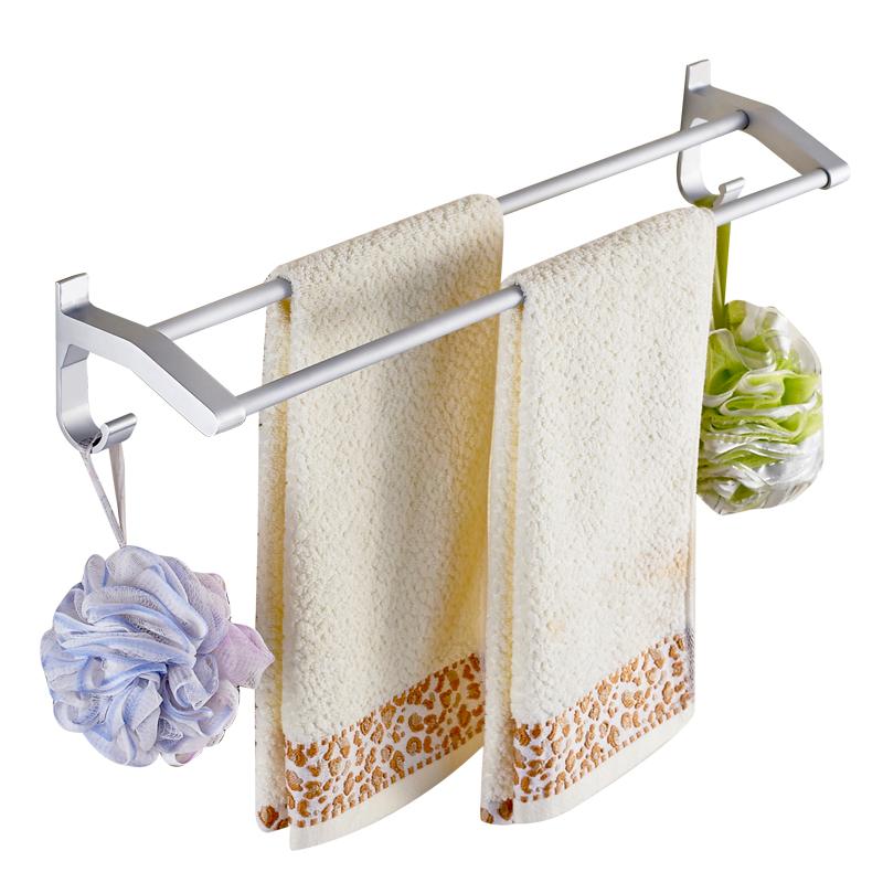 丹乐 免打孔毛巾架浴室太空铝浴巾架卫生间毛巾挂架加长单杆双杆毛巾杆