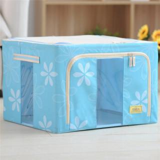 空间优品 双视窗整理百纳箱 大号可折叠衣物印花牛津布收纳箱一只装 天空蓝大号66L