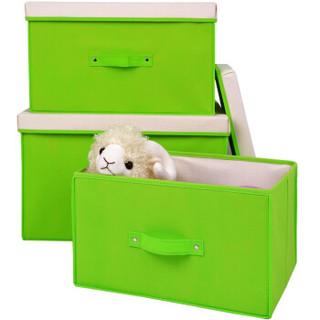 百草园(bicoy)分盖收纳箱整理箱 衣服杂物收纳盒储物箱 28L+40L+60L 3个装 绿色