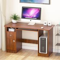沃变 电脑桌 台式带柜家用办公书桌带键盘架桌子笔记本电脑写字台 黄翅木色DNZ-03-C120J