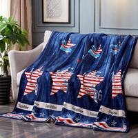 胜伟 毛毯家纺 法兰绒空调毯 珊瑚绒盖毯办公室午睡小毯子 北美印象 100*120cm *3件